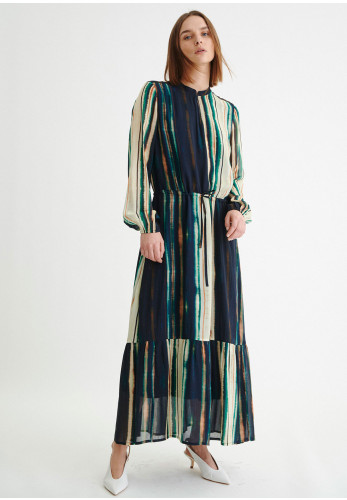 Inwear Parcy Abstract Stripe Maxi Dress, Navy Multi