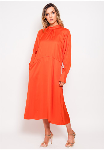 Inwear Satin Tie Waist Midi Dress, Orange