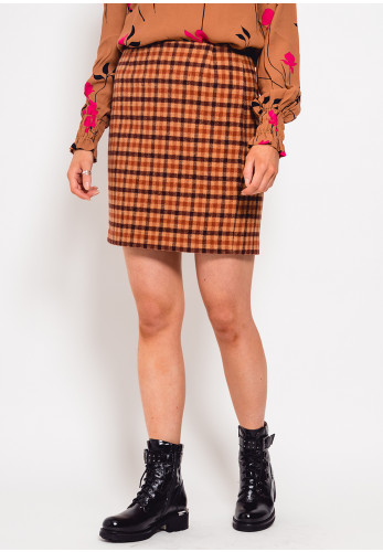 Inwear Silju Check Wool Rich Mini Skirt, Tan