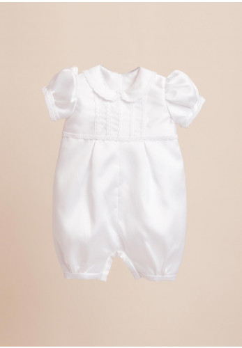 Isabella Christening Suit with Matching Hat, White