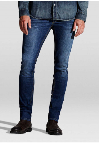 Jack & Jones Mens Liam Original Skinny Fit Jeans, Dark Blue