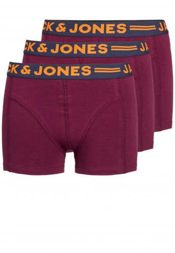 Jack & Jones Boys Lichfield 3 Pack Boxers, Burgundy