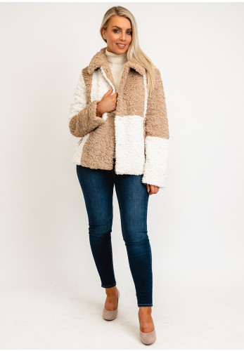 Jayley One Size Faux Shearling Checked Coat, Beige & White