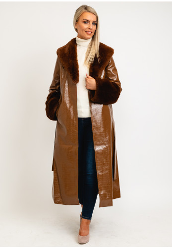 Jayley One Size Faux Fur Collar & Cuff Long Coat, Brown