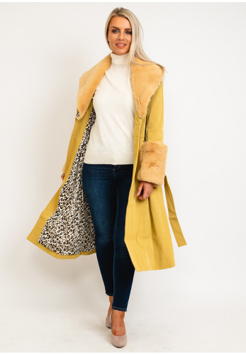 Jayley One Size Faux Fur Collar & Cuff Long Coat, Yellow