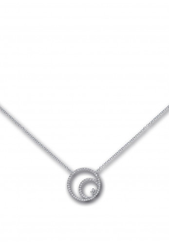 Kurate Jewellery Crystal Circles Necklace, Silver