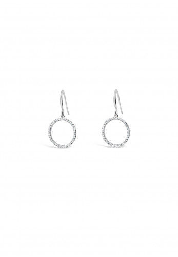 Absolute Circle Drop Pendant Earrings, Silver