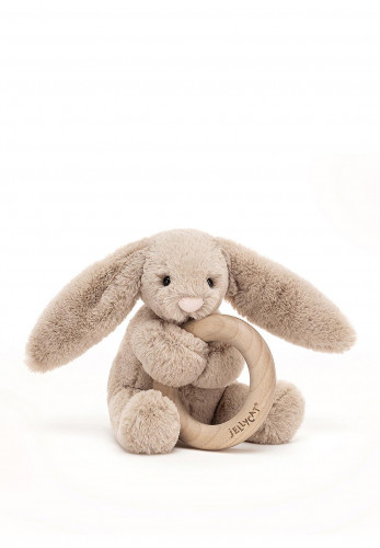 Jellycat Bashful Bunny Wooden Ring Toy, Beige