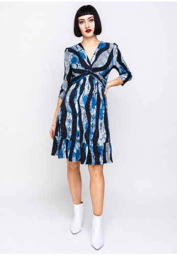 Zenith Collection Reptile Print Flared Hem Dress, Blue