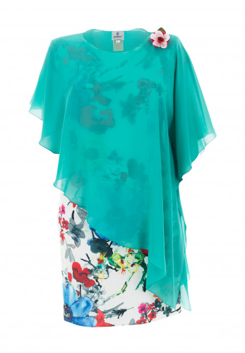 Jomhoy Fatima Chiffon Overlay Floral Dress, Green Multi
