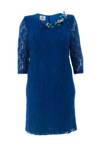 Jomhoy Guadalupe Floral Trim Lace Dress, Blue