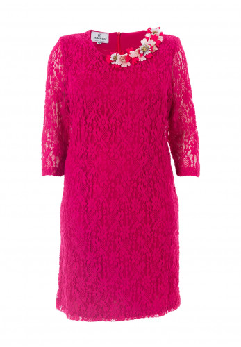 Jomhoy Guadalupe Floral Trim Lace Dress, Hot Pink