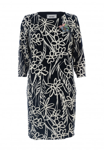 Jomhoy Libia Floral Midi Dress, Navy & Cream