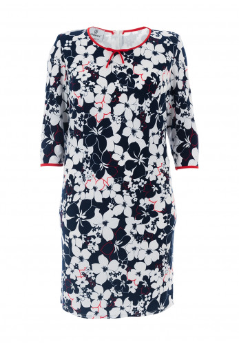 Jomhoy Marcela Floral Jersey Dress, Navy & White