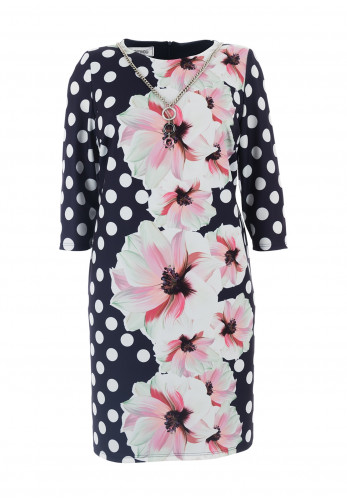 Jomhoy Megan Floral & Polka Dot Dress, Navy Multi