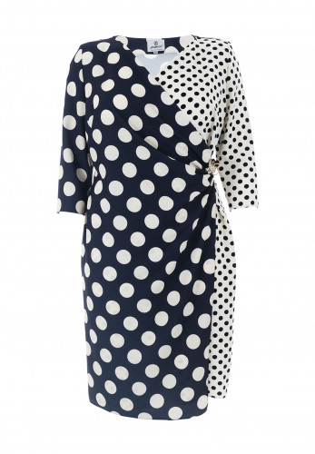 Jomhoy Rocio Polka Dot Wrap Dress, Navy & Cream