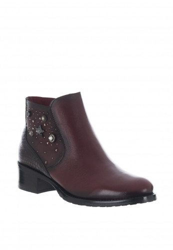 Jose Saenz Embellished Croc Leather Ankle Boots, Wine