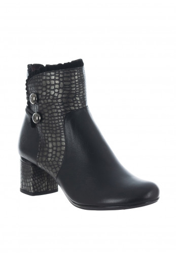 Jose Saenz Croc Frill Leather Ankle Boots, Black