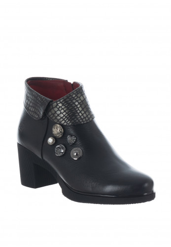 Jose Saenz Embellished Croc Cuff Leather Ankle Boots, Black