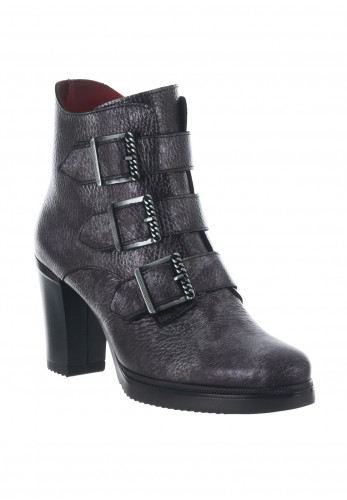 Jose Saenz Buckled Heeled Leather Ankle Boots, Grey