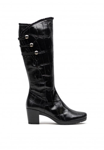Jose Saenz Leather Knee High Block Heel Boots, Black