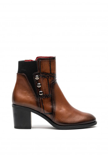 Jose Saenz Leather Chucky Heel Boots, Brown