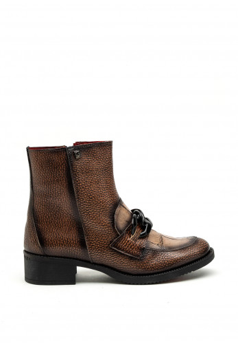 Jose Saenz Chain Link Pebbled Ankle Boot, Brown Multi