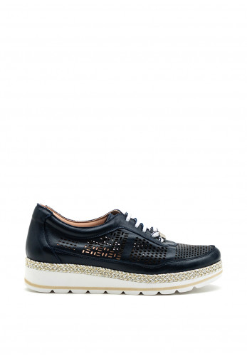 Jose Saenz Perforated Leather Wedge Shoe, Navy