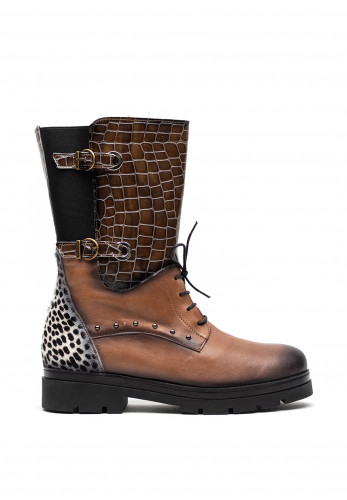 Jose Saenz Leopard and Croc Print Mid High Boots, Taupe