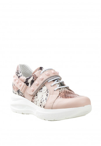 Jose Saenz Leather Comfort Snake Print Wedged Runners, Rose