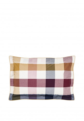 Joules Country Ramble Check Pillowcase, Plum