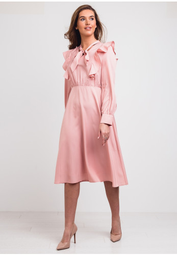 Jovonna Frill Trim A-Line Midi Dress, Pink