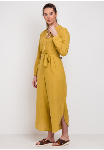 Jovonna Linen & Cotton Cropped Jumpsuit, Mustard
