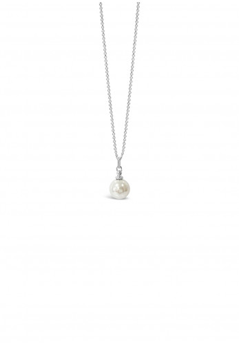 Absolute Pearl Drop Stud Necklace, White