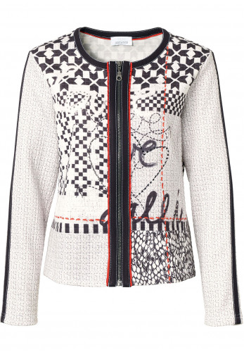 Just White Graphic Print Quilted Jersey Jacket, White & Black
