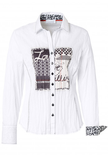 Just White Graphic Print Cotton Blend Shirt, White