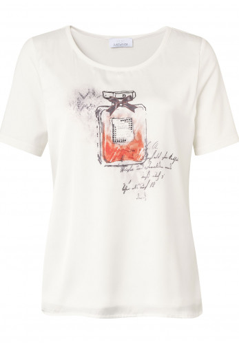 Just White Perfume Bottle Print T-Shirt, Cream