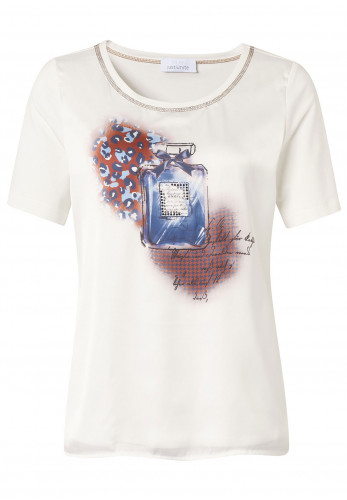 Just White Perfume Bottle Print T-Shirt, White