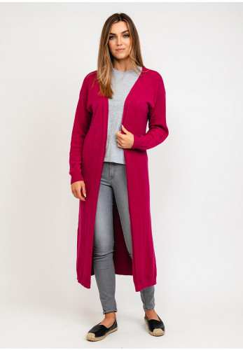 Kate & Pippa Monza Long line Open One Size Cardigan, Deep Pink