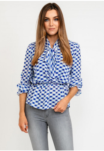 Kate & Pippa Pussy Bow Disc Print Blouse, Blue Multi