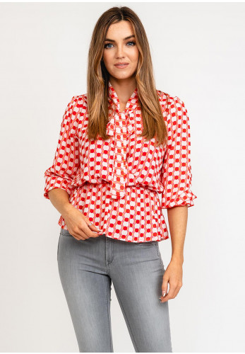 Kate & Pippa Pussy Bow Disc Print Blouse, Coral Multi