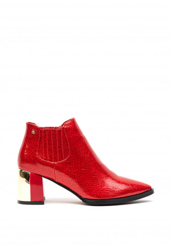 Kate Appleby Gillock Faux Croc Block Heel Boots, Red