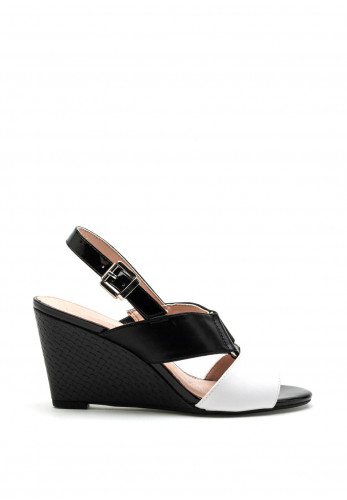 Kate Appleby Bourne Wedge Sandals, Black & White