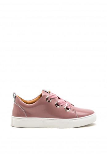 Kate Appleby Cartmel Ribbon Lace Patent Trainers, Pink