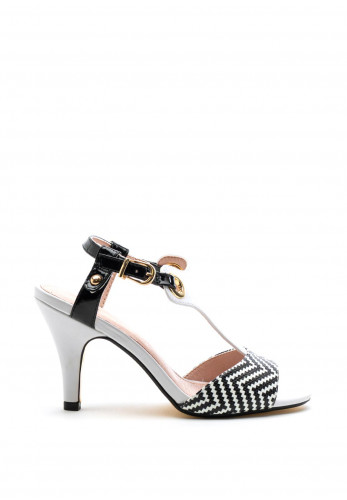 Kate Appleby Repton Woven Print Sandals, White & Black