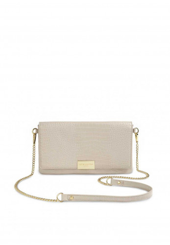 Katie Loxton Celine Faux Croc Skin Flap-Over Crossbody Bag, Stone