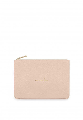 Katie Loxton Stylish Structured Pouch Live Laugh Love Clutch Bag, Nude Pink