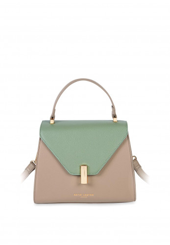 Katie Loxton Casey Flap Over Crossbody Bag, Taupe & Mint