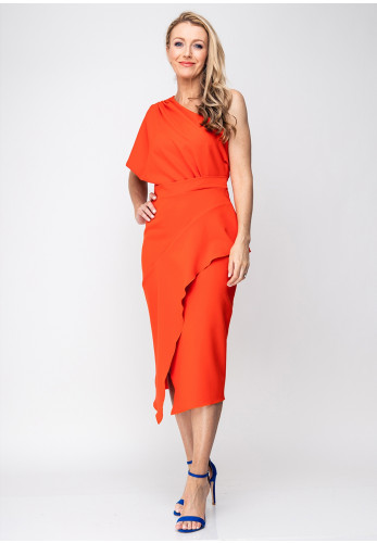 Kevan Jon Tera One Shoulder Wrap Dress, Coral Orange