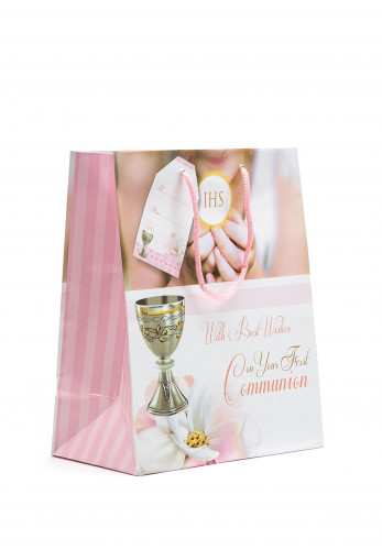 On Your First Communion Gift Bag, Pink